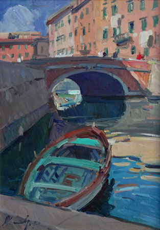 Art work by Piero Marchi Canale di Livorno - oil hardboard